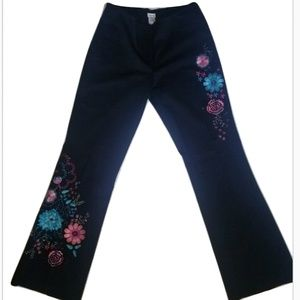 Cache Embellished Flower Beaded Sequin Pants sz10